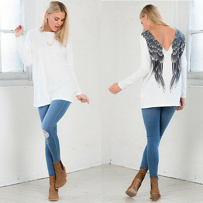 Rare Womens Long Sleeve White Casual Wings Blouse Loose Cotton Tops T Shirt