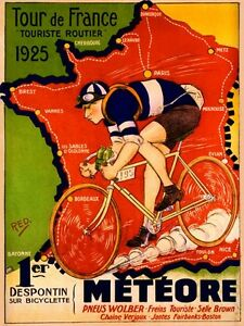 Tour-de-France-Bicycle-Bike-Meteore-1925-Map-Vintage-Poster-Repro-FREE-SHIPPING