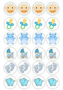 24 Edible Baby Shower Boy Iced Topper For Cupcake Fairy Cake