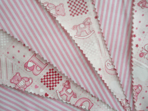 TEDDY DESIGN PINK BUNTING 10 feet 10 FLAGS NURSERY BABY/'S BEDROOM