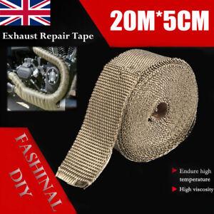 20M-Titanium-Exhaust-Heat-Wrap-Manifold-Downpipe-High-Temp-Bandage-Tape-Roll-NEW