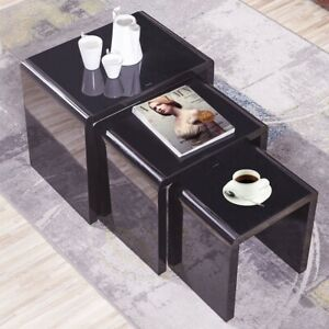 Details About Nest Of 3 Coffee Tables Side End Table Set Living Room High Gloss Coffee Table