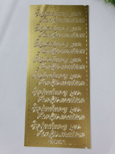 Nr 28 Sticker Ziersticker Schriftsticker EINLADUNG ZUR KONFIRMATION gold L