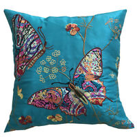 """LUXURY EMBROIDERED BUTTERFLY BIRD CUSHION COVERS 18"""" X 18"""""""