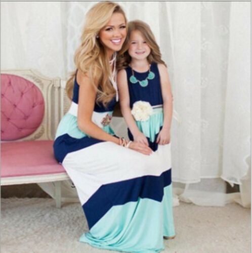 Mother And Daughter Sleeveless Anchor Ladie Girls Holiday Casual Boho Dress 6-18