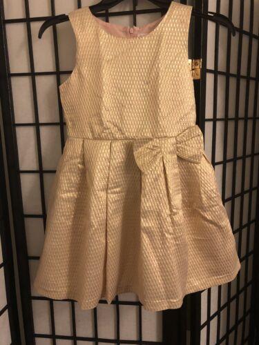 Girls Cat /& Jack Girl's Gold Dress Bow Size Medium 7//8