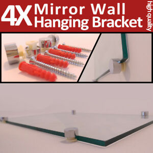 4 Mirror Wall Hanging Fixing Kit Chrome Plastic Clips