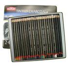 Ub00133knvyu Derwent Tinted Charcoal Pencils Tin - Set of 24