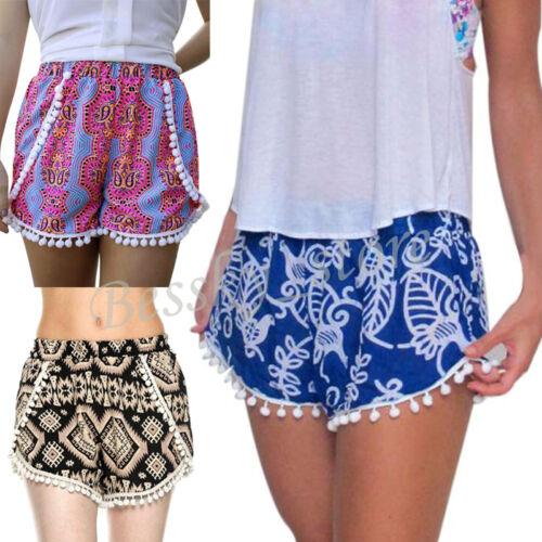 Women High Waist Tassel Sports Pants Casual Shorts Summer Casual Beach Hot Pants