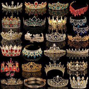 Bridal-Gold-Crystal-Pearl-Rhinestone-Tiara-Crown-Wedding-Prom-Headpiece