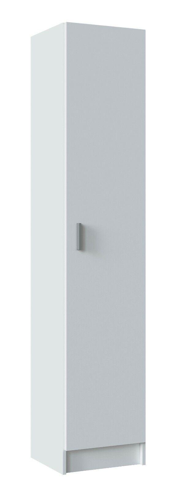 Armario multiusos auxiliar alto 1 puerta color blanco con estantes interiores