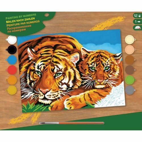 Tiger Malen nach Zahlen Erwachsene 39,5x32cm Malvorlage Tigerfamilie Raubkatze