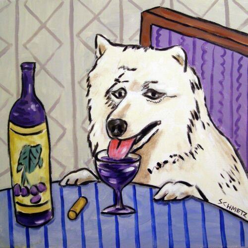 samoyed dog ceramic art tile COASTER gift JSCHMETZ modern folk art wine