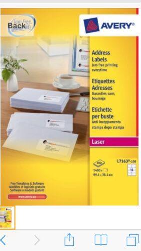 Avery L7163-100 étiquettes d/'adresse NEUF boîte scellée