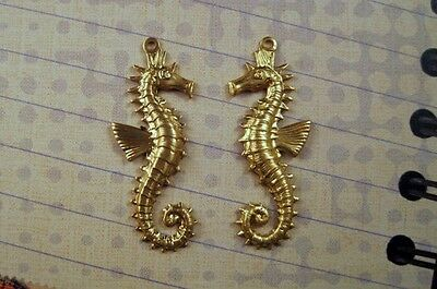 Raw Brass Sea Horse Charm Stampings (2) - FFA14138-1-FFA14139-1 Jewelry Finding