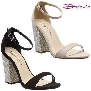 da59eec02908 Womens Ladies Block High Heel Fancy Sandals New Ankle Strappy ...
