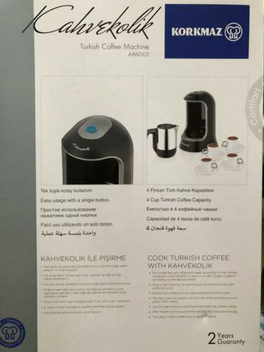 Korkmaz électrique Turkish Coffee Moka Kocher 4 Tasses Cafetière en acier inoxydable NEUF