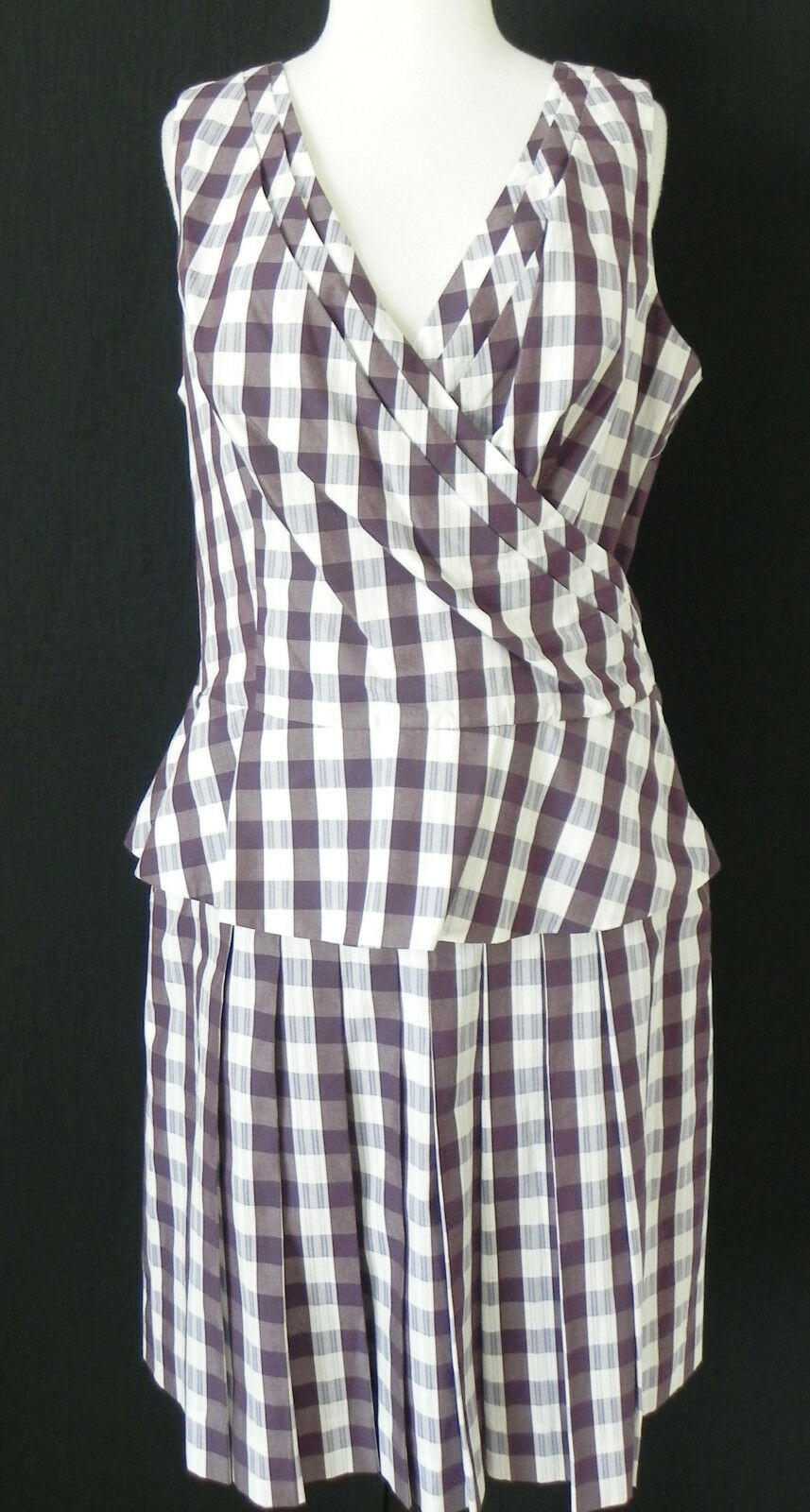New Etcetera Skirt Suit Sleeveless Top Pleated Skirt Cotton Purple Size 12