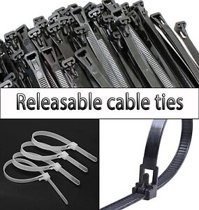 Nylon Releasable Plastic Cable Ties Extra Large Zip ties Black White Green