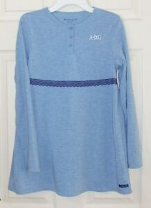 American-Girl-Sz-L-14-16-Blue-Knit-Swing-Top-with-Logo-Lace