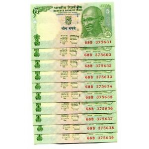 Lot-5PCS-Bundle-2015-INDIA-5-Rupees-Mahatma-GANDHI-UNC-Serial-Currency-Notes-set