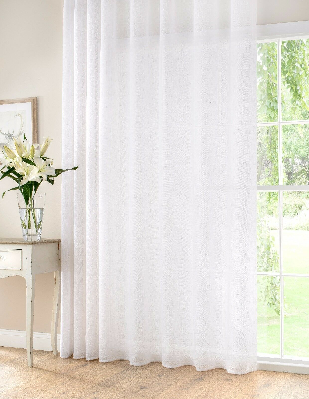 Panel de gasa Extra Ancho 72% Lino Calidad Superior semi transparentes Bi Fold patio Bay blancoo
