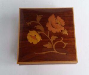 Vintage Atarsia Sorrento Italy Hand Inlaid Wooden Jewelry Box Velvet