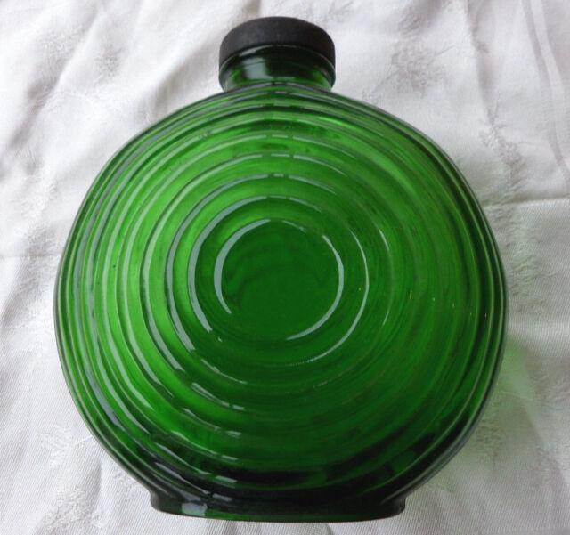 Emerald Green Antique Circle Ring Bottle Owens Illinois Prune Juice Original Lid