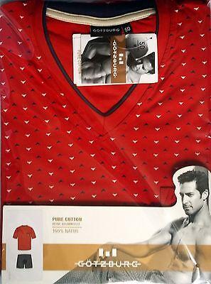 GÖTZBURG 451621 Herren Schlafanzug Pure Cotton Shorts//Kurzarm T-Shirt Hellblau