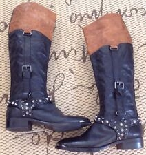 Sam Edelman 'PARK' Studded Black Brown Distressed Leather Boots SIZE 7.5 M