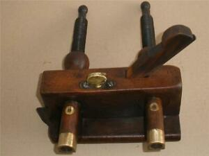 Antique-Wooden-Plough-Plane-Screwed-Stems-Old-Woodworking-Tool