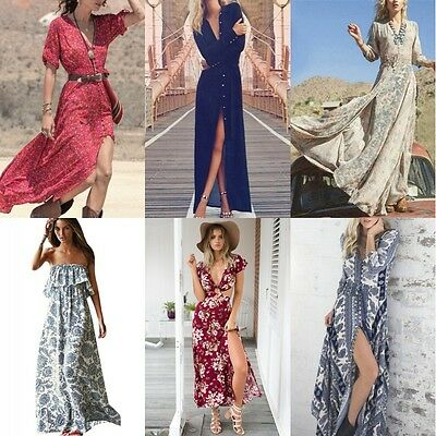Sexy Women's Boho Long Maxi Dress Evening Party Beach Dresses Summer Sundress