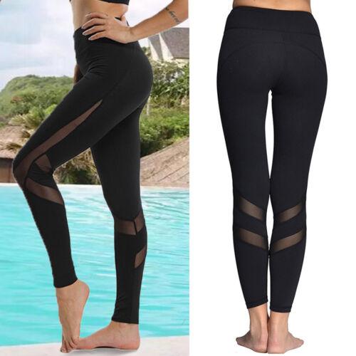 Women High Waist YOGA Pants Sports Mesh Workout Gym Fitness Leggings Trousers G1