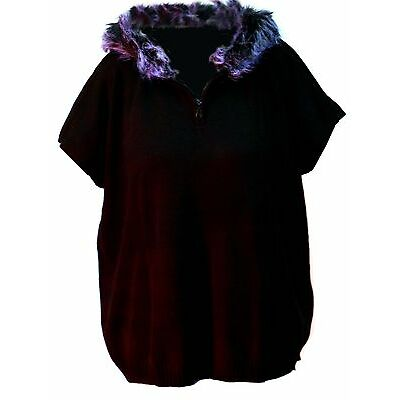 Pia Rossini Ainsley Black Jersey Poncho with Fur Trimmed Hood