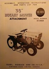 Sears Custom 6 Lawn Garden Tractor 36 Rotary Mower Implement Owner Ampparts Manual