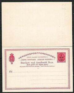 Danish West Indies covers 1902 1c ovpt DoubleCard not sent