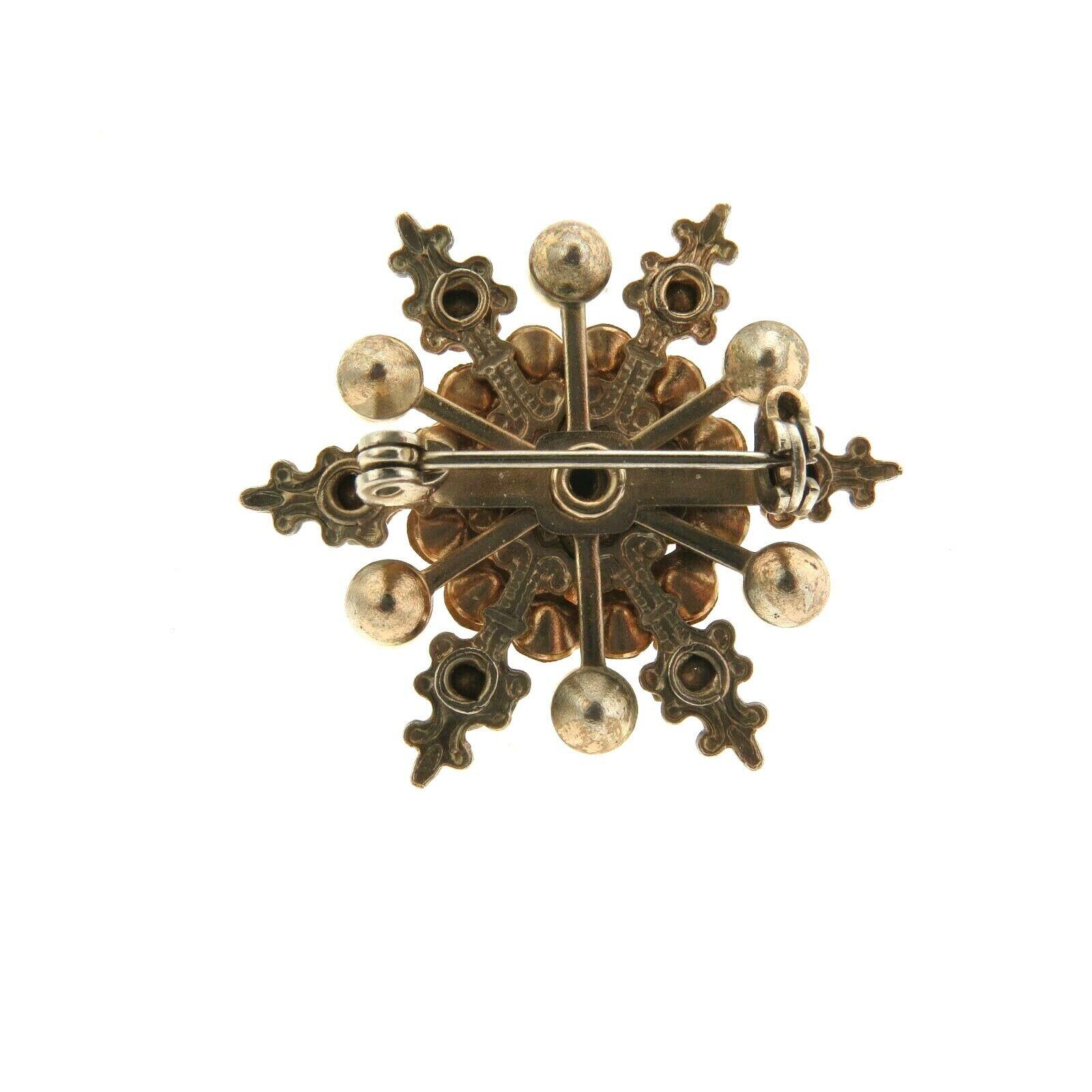 Vintage Crystal Rhinestone Pearl Star Brooch Pin … - image 3