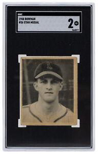Stan Musial 1948 Bowman #36 St. Louis Cardinals Baseball Card SGC GD 2