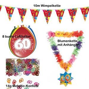 60. Geburtstag Party Deko Set Jubiläum bunt - Konfetti Wimpelkette Ballon Blumen