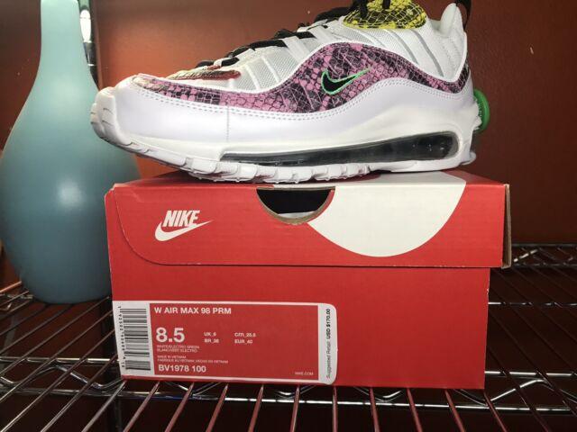 Nike Air Max 98 PRM Women's Sz 5 Electro Green Snakeskin Pink White Bv1978 100