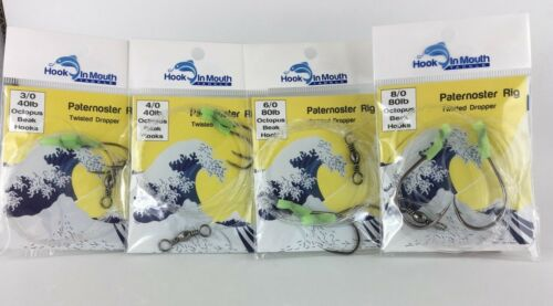12 Twisted Paternoster Fishing Rig Octopus Beak Hook Mixed Pack Snapper Pre Tied