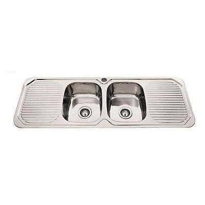 1380 x 480 x 185 mm Colorado Double Square Bowl Kitchen Sink Double Drainer