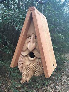 Hand Carved Wood Spirit Old Man Face Cedar Birdhouse Happy ...Old Man Face Bird Houses
