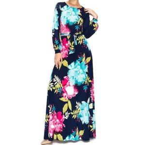 Janette-Fashion-Flower-Bomb-Long-Bell-Sleeve-Maxi-Evening-Dress-S-M-L-XL