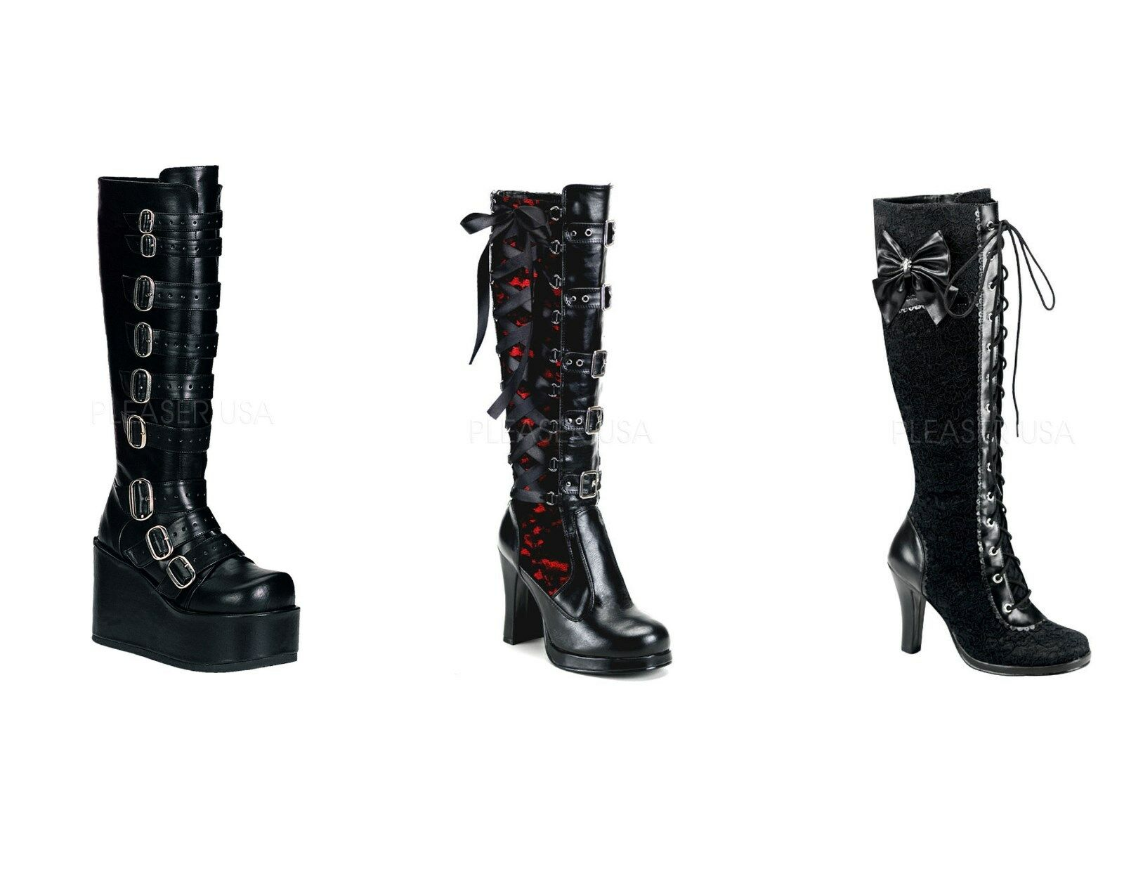 Demonia CONCORD-108 CRYPTO-106 GLAM-240 Women's Goth Punk Vegan Boots