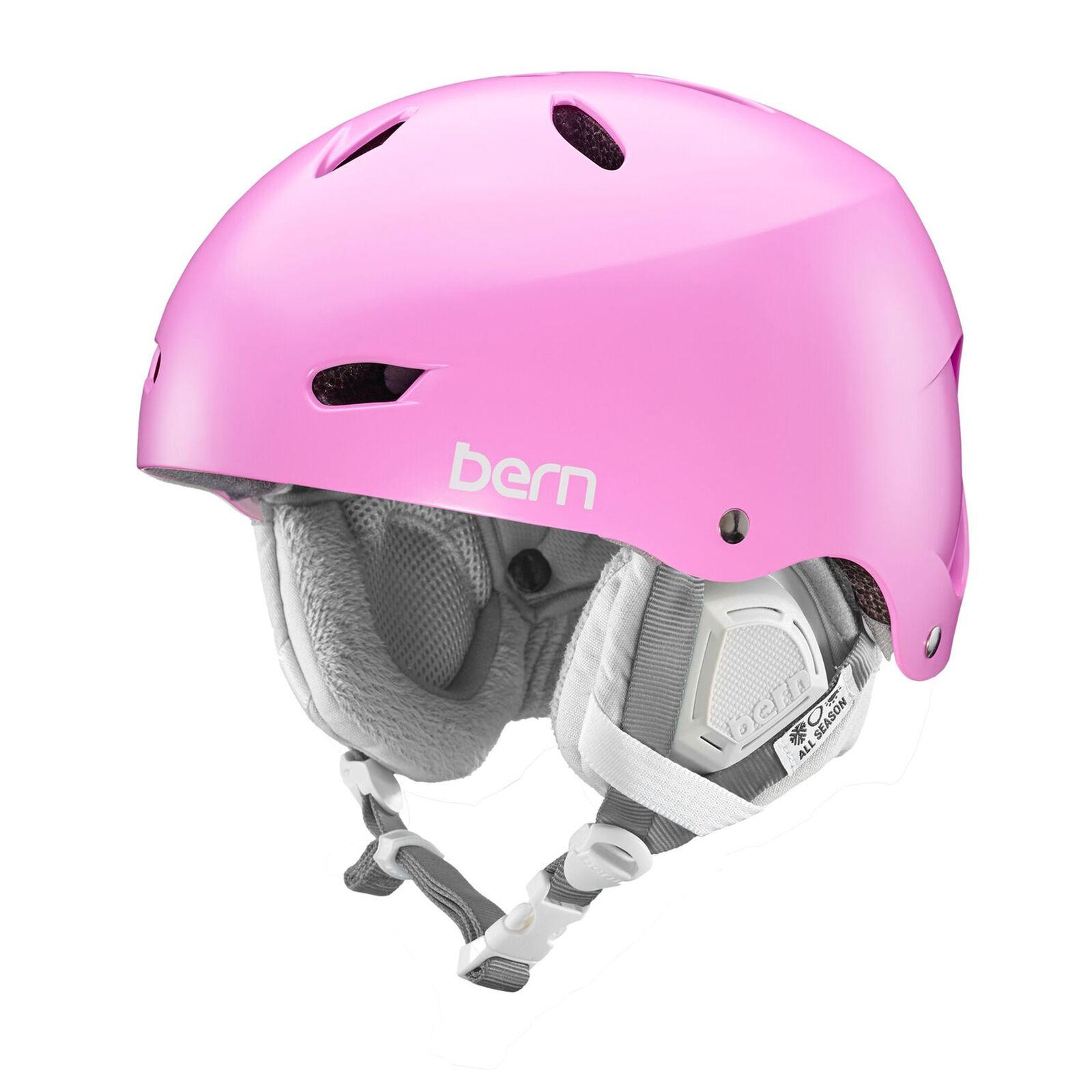 Bern Ladies Brighton Ski Snow Helmet Satin Hot Pink + Boa
