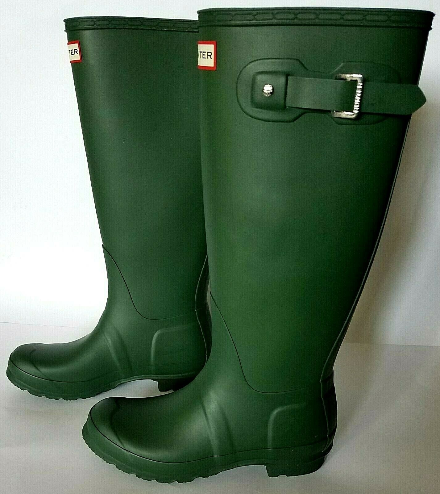Hunter Women's Green Matte Rubber Rain Boots Original Tall Size 7, WFT1000RMA