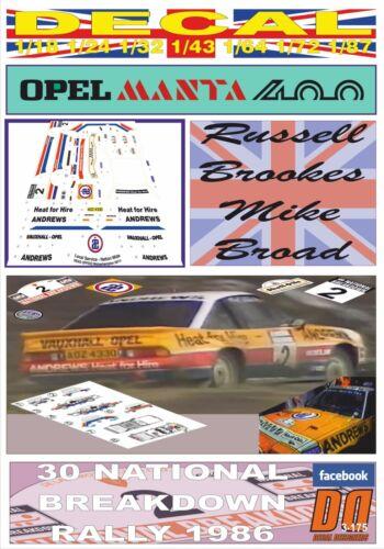 "Decalque Opel Manta 400 /""Andrews/"" R Brookes colapso Nacional R.1986 4th 06"