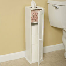 Free Standing Country Cottage White Toilet Paper Storage Cabinet Tower Bathroom Tissue Holder Bath Stand