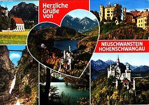 Neuschwanstein-Hohenschwangau-Ansichtskarte-1987-gelaufen